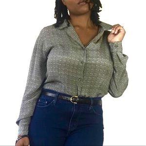 Casual corner 100% silk gray button down blouse sm